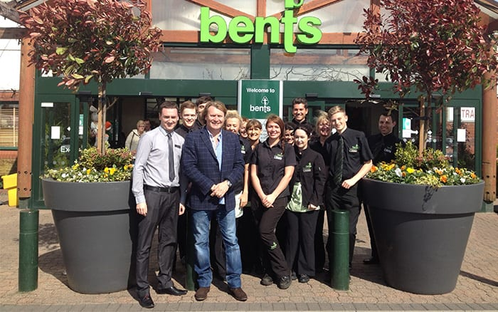 David Domoney with Bents Garden Centre Staff