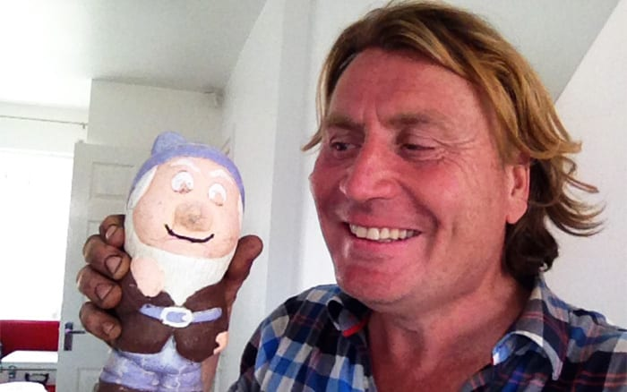 David Domoney selfie with a gnome on Love Your Garden