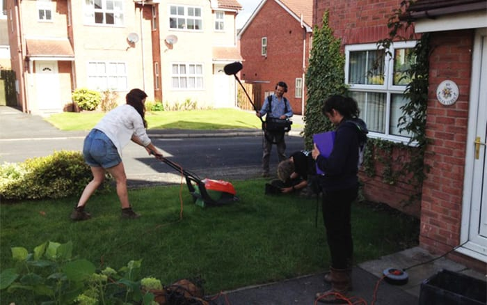 Frances Tophill mowing the lawn on Love Your Garden