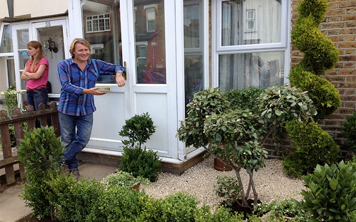 David Domoney finished front garden on Love Your Garden green topiary foliage plants list