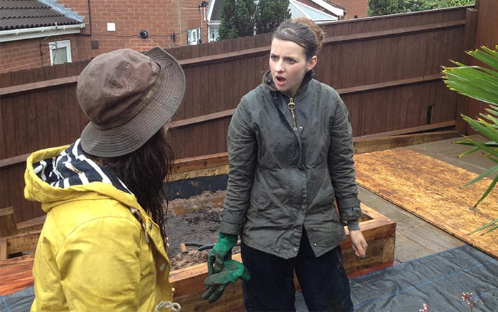 Frances Tophill and Katie Rushworth on Love Your Garden in the rain