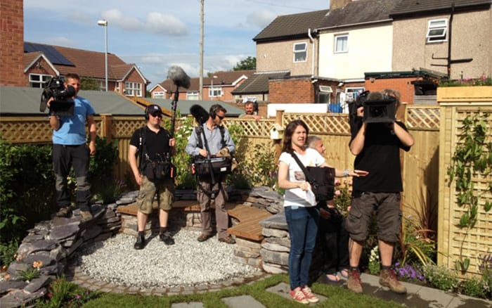 David Domoney viewpoint from the other side filming Love Your Garden for ITV behind the scenes