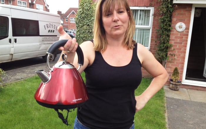 Cath on set Love Your Garden with burnt kettle