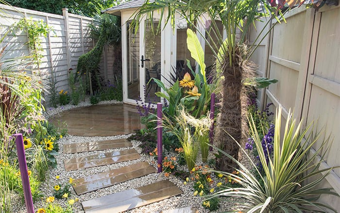 Gazebo and path from the finished garden on love Your Garden for episode 6