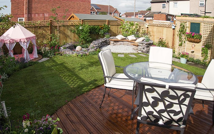 Finished garden from Love Your Garden episode 4 with decking and patio furniture