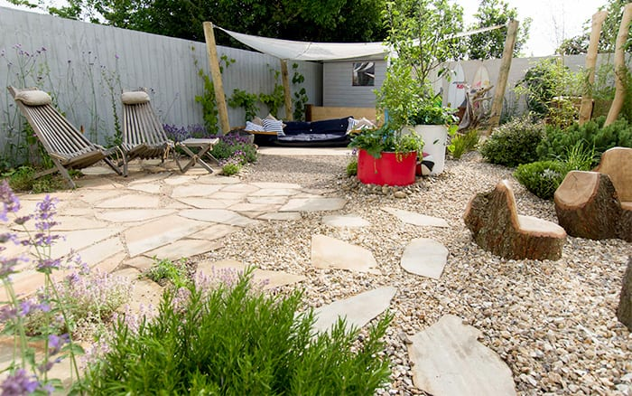 Finished garden in Devon for the Woods family on new series of Love Your Garden ITV1 8pm