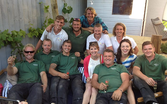 group-shot at the end of the coastal garden make over on Love Your Garden for the new series 4 episode 5 with David Domoney, Frances Tophill, Katie Rushworth, Cool Canvas and Frosts Landscapes