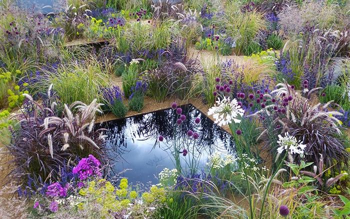 The One Show garden RHS Hampton Court Palace Flower Show texture garden sunken garden with dark pools