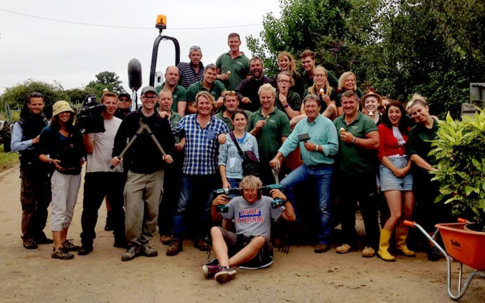 ITV Love Your Garden group photo, including Alan Titchmarsh, David Domoney, Katie Rushworth and Frances Tophill, plus Frosts Landscapers, film crew and Spun Gold production team