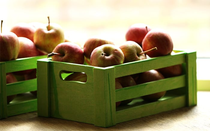 how to use up a glut of homegrown apples - store them in crates