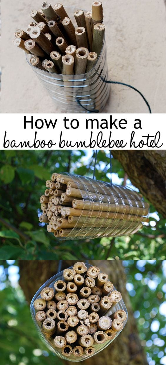 How to make a bamboo bumblee hotel. In this link are great insect hotel ideas to make from recycled materials!