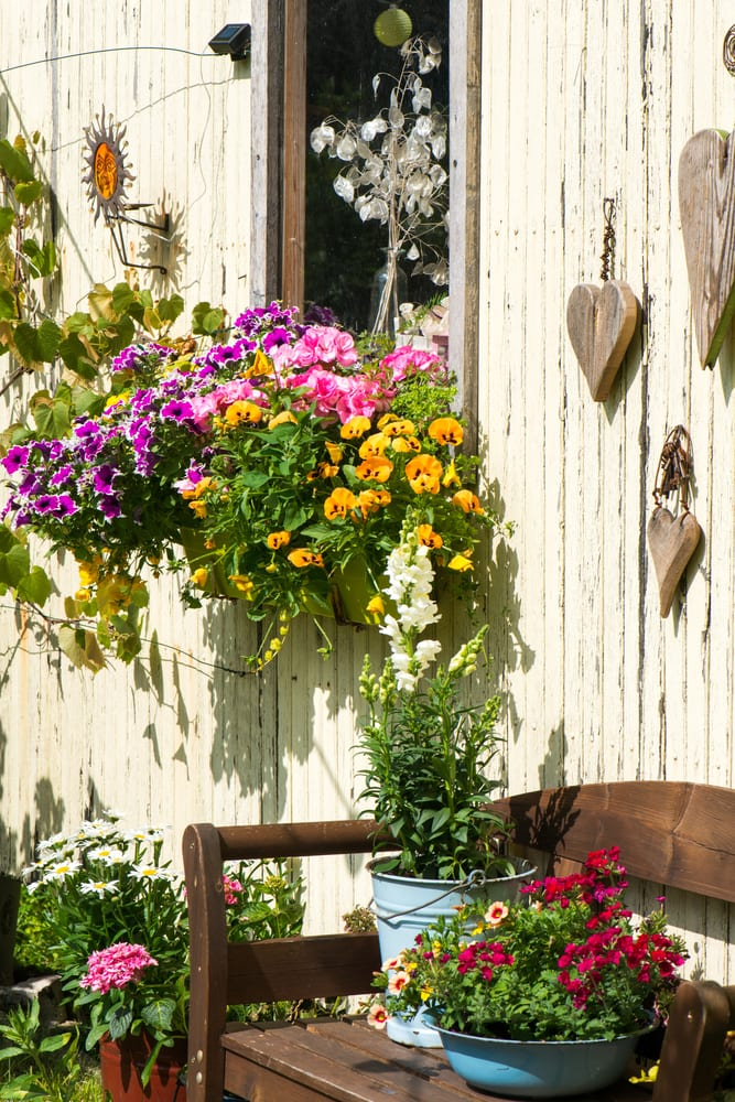 White painted shed with window box and hanging wooden hearts decoration - 50 quick fixes for the garden.