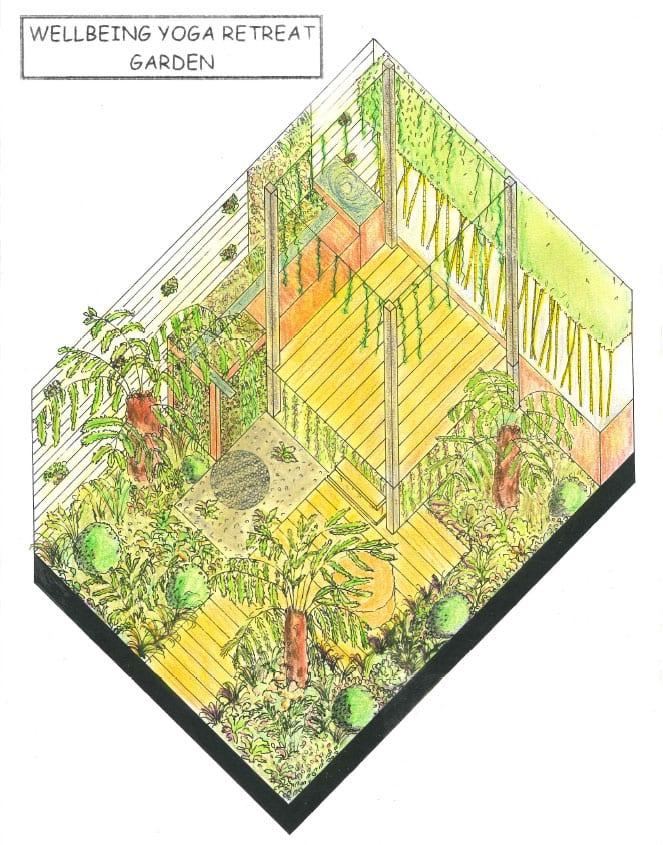 Capel Manor Wellbeing Retreat Yoga Garden show garden design. Young Gardeners of the Year 2016