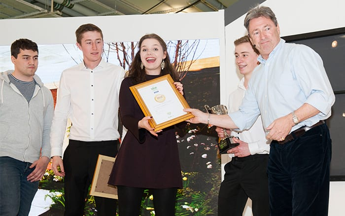 Askham Bryan College students win the Young Gardeners of the Year 2016 competition on stage with Alan Titchmarsh
