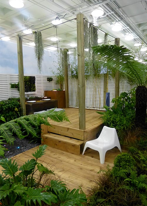Capel Manor College show garden - tropical yoga retreat garden for the Young Gardeners of the Year competition
