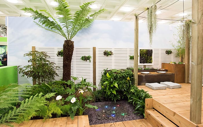 Capel Manor College show garden. Tropical plants in the yoga garden at the Young Gardeners of the Year competition