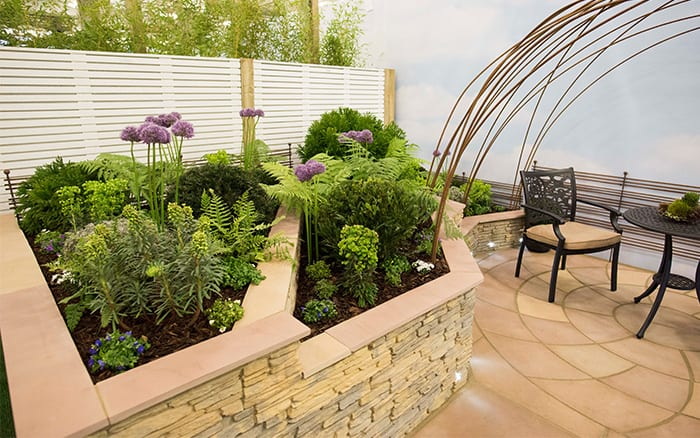 Chichester College's show garden includes stone walling, sandstone paving and evergreen plants