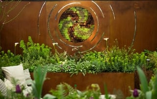 Pershore College created a spiral sempervivum wall planted for their show garden at the Young Gardeners of the Year awards 2016