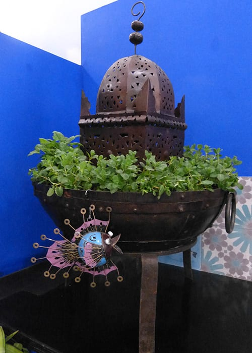 A firebowl planted with herbs and salad leaves in Shuttleworth College's show garden for the Young Gardeners of the Year competition