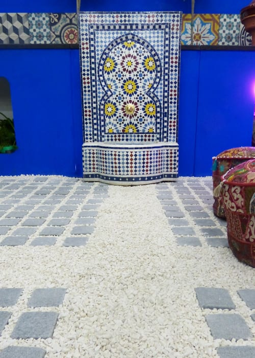 Moroccan fountain in a cobbled and gravel garden design inspired by Morocco - from Shuttleworth College for the Young Gardeners of the Year 2016