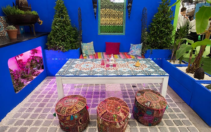 Shuttleworth College show garden. Inspired by Morocco, the garden used many tiles, colours and crafts