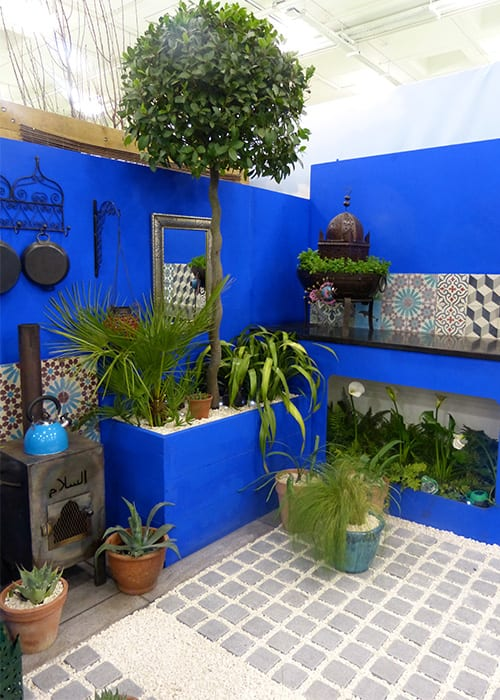Shuttleworth College show garden for the Young Gardeners of the Year 2016 features a bold blue tone inspired by Morocco