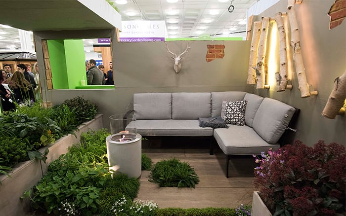 Seating area in Writtle College's basement garden design at the Young Gardeners of the Year competition