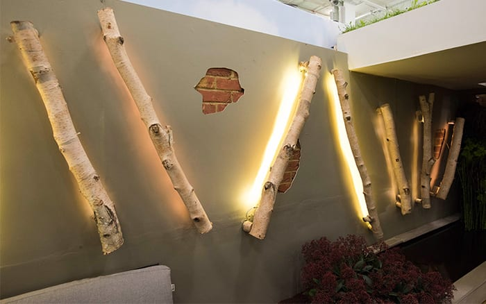 Birch log light features on the wall of Writtle College's show garden at the Ideal Home Show - small garden design ideas