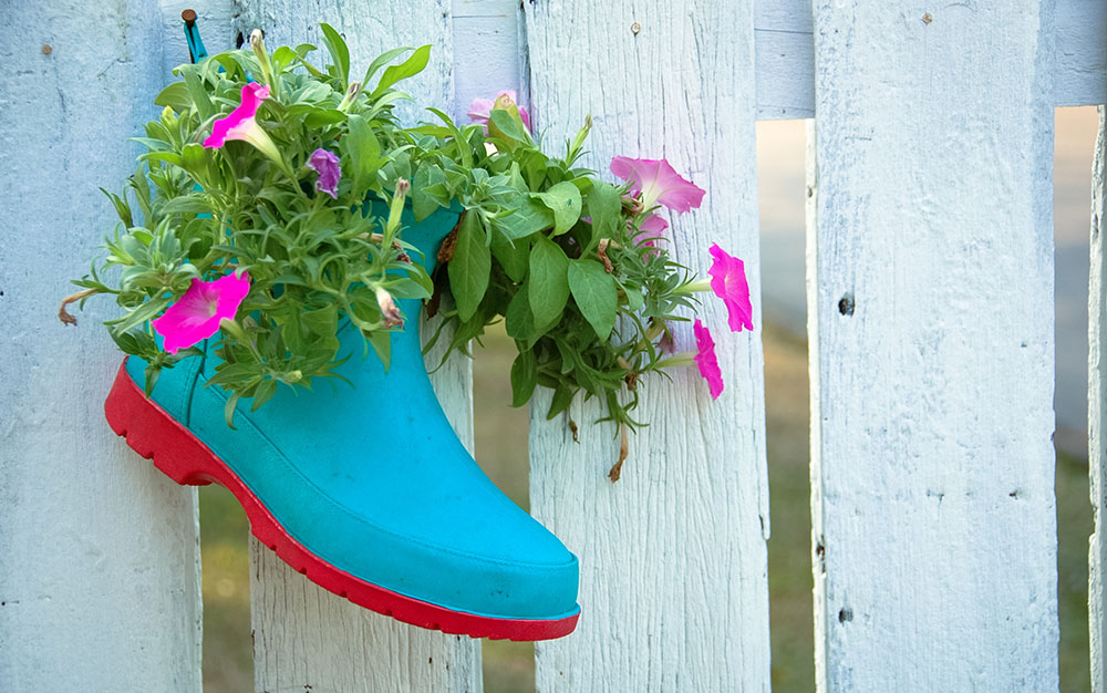 hanging welly planter