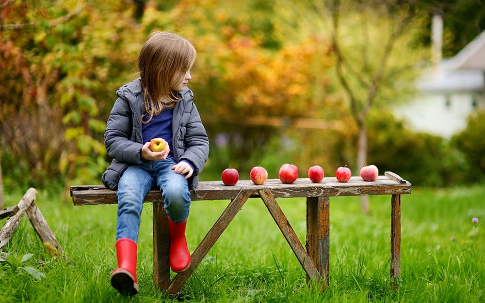 girl-row-of-apples