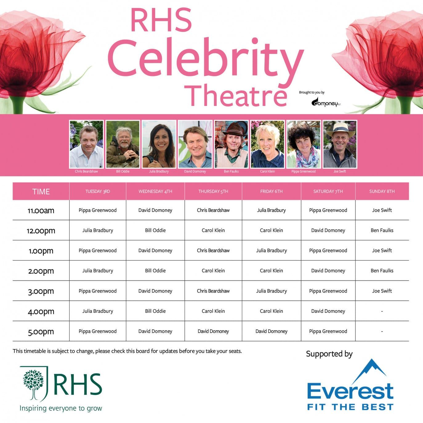 Celebrity theatre timetable