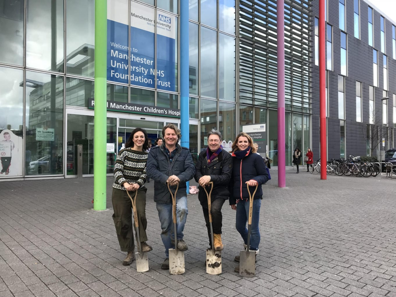 Frances, Alan, Katie and I outside the amazing hospital in Manchester.