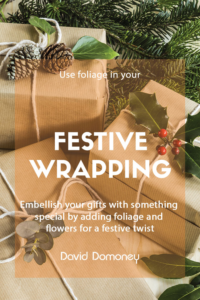 Festive wrapping with foliage