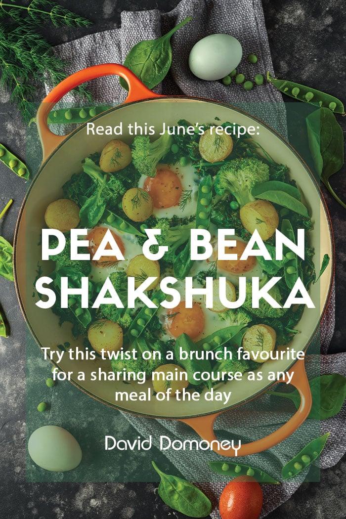 June recipe Pea and broad bean shakshuka